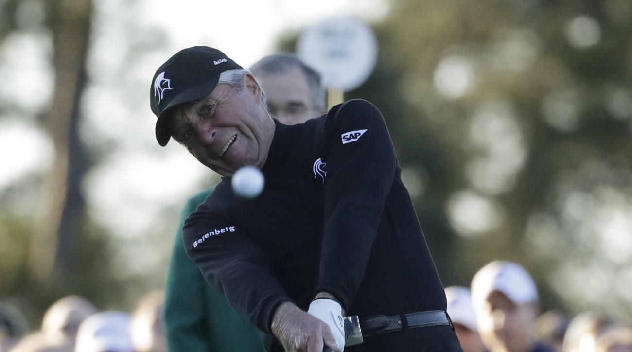 Gary Player hits an honorary first tee shot for the ceremonial start of the first round of the Masters golf tournament Thursday, April 6, 2017, in Augusta, Ga. (AP Photo/Chris Carlson)