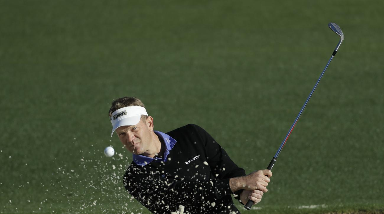 Billy Hurley III hits from a bunker on the second hole during the first round for the Masters golf tournament Thursday, April 6, 2017, in Augusta, Ga. (AP Photo/Chris Carlson)