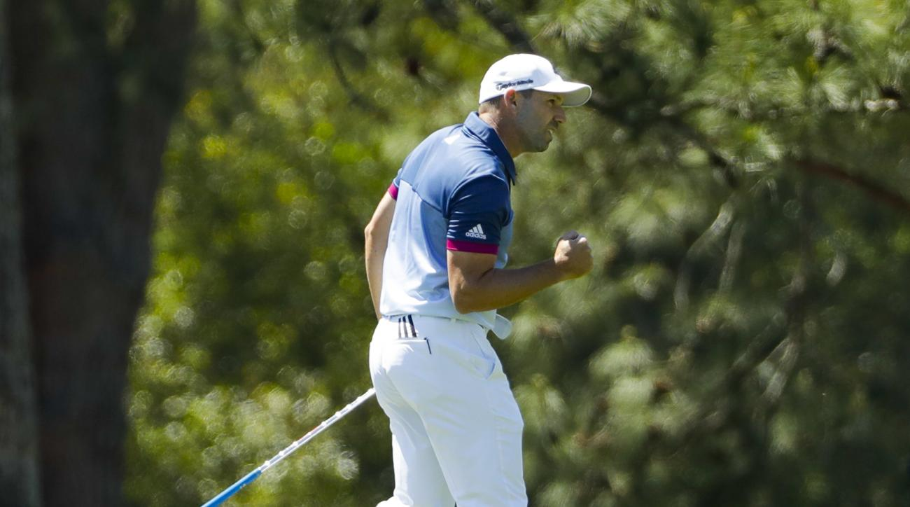 Sergio Garcia, of Spain, reacts to a shot on the 15th hole during the second round of the Masters golf tournament Friday, April 7, 2017, in Augusta, Ga. (AP Photo/David J. Phillip)