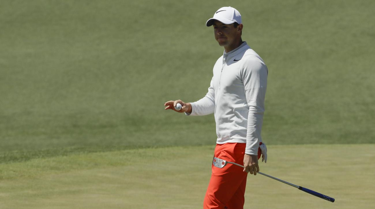 Rory McIlroy of Northern Ireland, waves after his birdie on the second hole during the third round of the Masters golf tournament Saturday, April 8, 2017, in Augusta, Ga. (AP Photo/David J. Phillip)