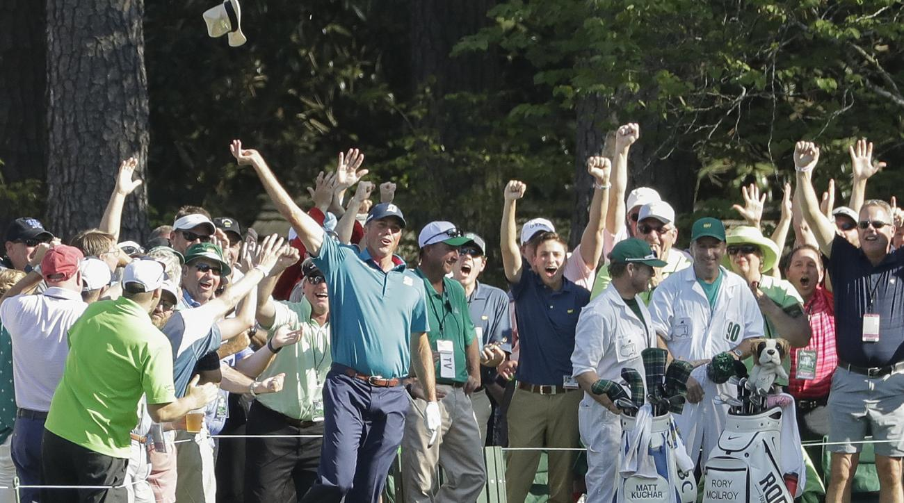Matt Kuchar reacts after his hole in one on the 16th hole during the final round of the Masters golf tournament Sunday, April 9, 2017, in Augusta, Ga. (AP Photo/Matt Slocum)