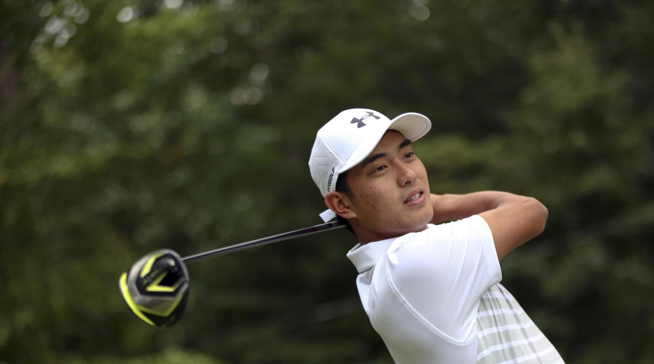 This Sept. 6, 2016, photo provided by Seton Hall University shows Lloyd Jefferson Go at the Fiddler's Elbow Country Club in Bedminster, N.J. Go came all the way from the Philippines four years ago to play golf at Seton Hall in South Orange, N.J. He will t