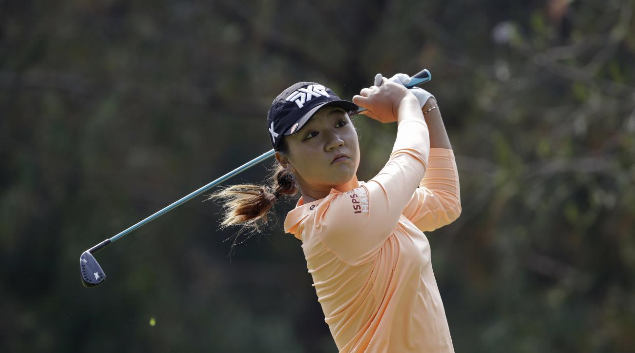 Lydia Ko, of New Zealand, tees off on the 3rd hole during round two of the Lorena Ochoa Invitational at Mexico Golf Club in Mexico City, Friday, May 5, 2017. The invitational, the tenth of the 2017 LPGA tour, is the tour's first Match Play event since 201