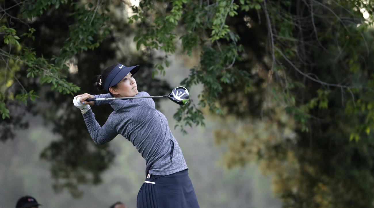 Michelle Wie of the U.S. tees off on the 4th hole during the semifinal of the Lorena Ochoa Invitational at Mexico Golf Club in Mexico City, Sunday, May 7, 2017. The invitational, the tenth of the 2017 LPGA tour, is the tour's first Match Play event since