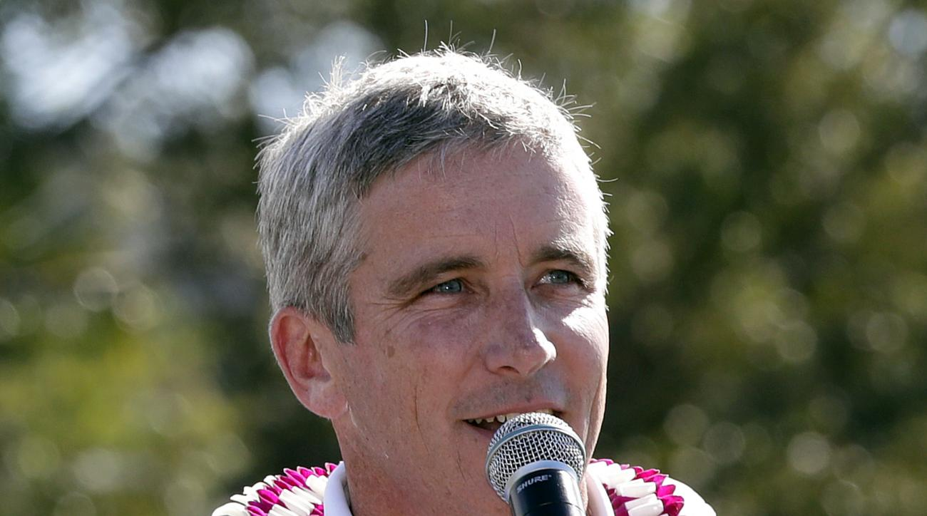 In this Sunday, Jan. 8, 2017 photo, PGA Commissioner Jay Monahan speaks after the final round of the Tournament of Champions golf event, at Kapalua Plantation Course in Kapalua, Hawaii. (AP Photo/Matt York)