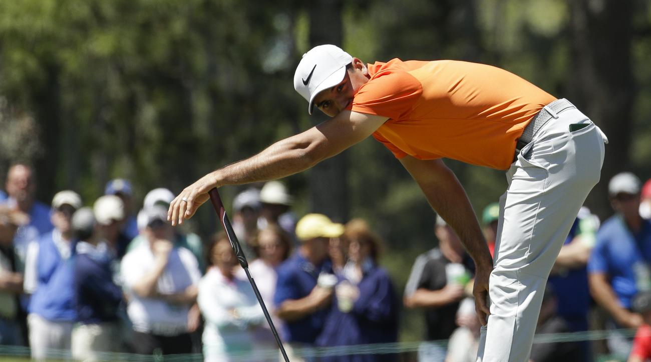 FILE - In this April 8, 2017, file photo, Jason Day, of Australia, reacts after missing a putt on the 17th hole during the third round of the Masters golf tournament, in Augusta, Ga. Day has slipped to No. 3 in the world and has gone an entire year withou