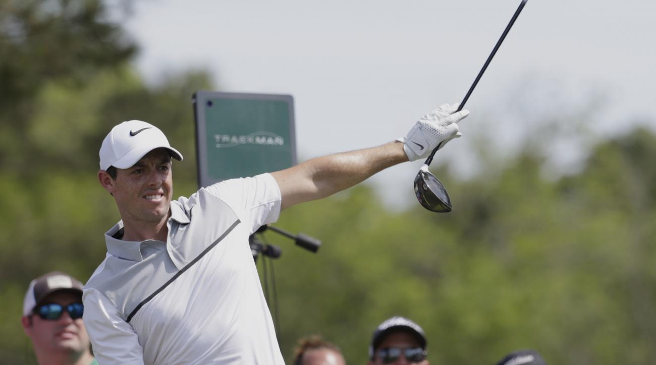 Rory McIlroy reacts to his shot from the ninth tee during the first round of the Players Championship.