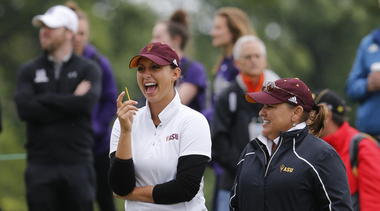 Arizona State's Monica Vaughn, left, laughs with coach Missy Farr-Kaye during the final round of the NCAA Division I Women's Golf Championships against Northwestern at Rich Harvest Farms, Wednesday, May 24, 2017, in Sugar Grove, Ill. Earlier in the week V