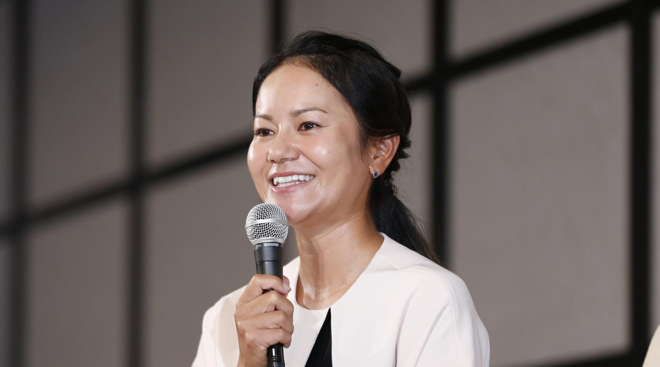 Japanese golfer Ai Miyazato speaks during a press conference in Tokyo, Monday, May 29, 2017. Miyazato, a nine-time winner on the U.S. LPGA Tour, announced she will retire at the end of this season. (AP Photo/Shuji Kajiyama)