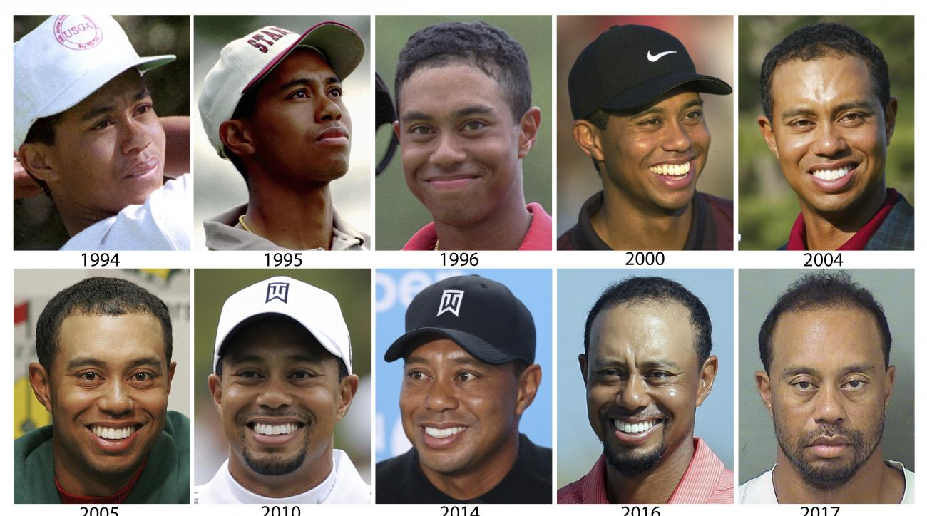 """FILE - These are file photos by year showing Tiger Woods, starting in 1994 and ending with a 2017 photo provided by the Palm Beach County Sheriff's Office on Monday, May 29, 2017. Tiger Woods attributed an """"unexpected reaction"""" to prescription medicine fo"""
