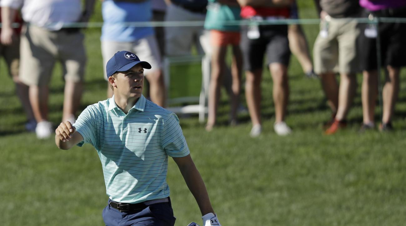Jordan Spieth watches his shot on the 10th hole during the first round of the Memorial golf tournament, Thursday, June 1, 2017, in Dublin, Ohio. (AP Photo/Darron Cummings)