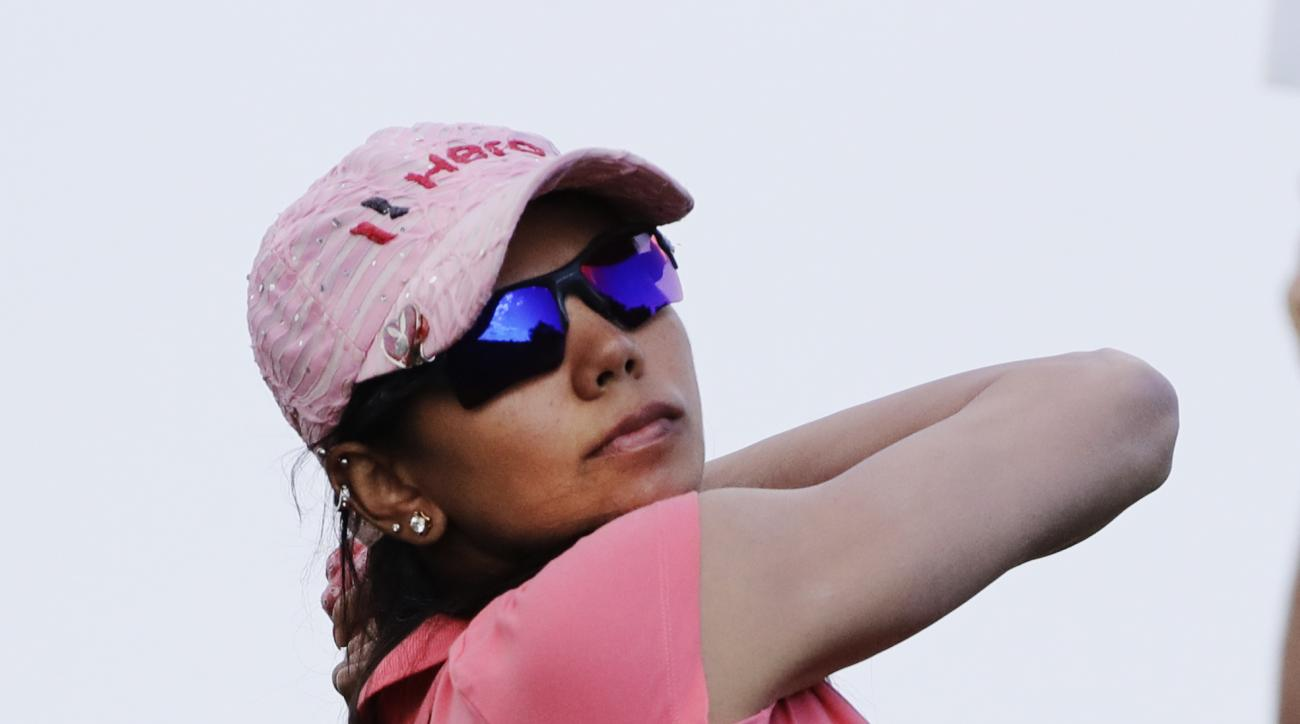 Sharmila Nicollet, of India, tees off on the fifth hole of the ShopRite LPGA Classic golf tournament Friday, June 2, 2017, in Galloway Township, N.J. (AP Photo/Frank Franklin II)