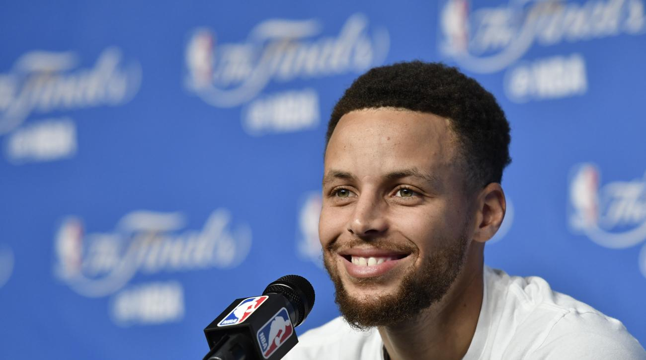 CLEVELAND, OH - JUNE 08:  Stephen Curry #30 of the Golden State Warriors talks to the media during a press conference after practice and media availability as part of the 2017 NBA Finals on June 08, 2017 at Quicken Loans Arena in Cleveland, Ohio. (Photo b