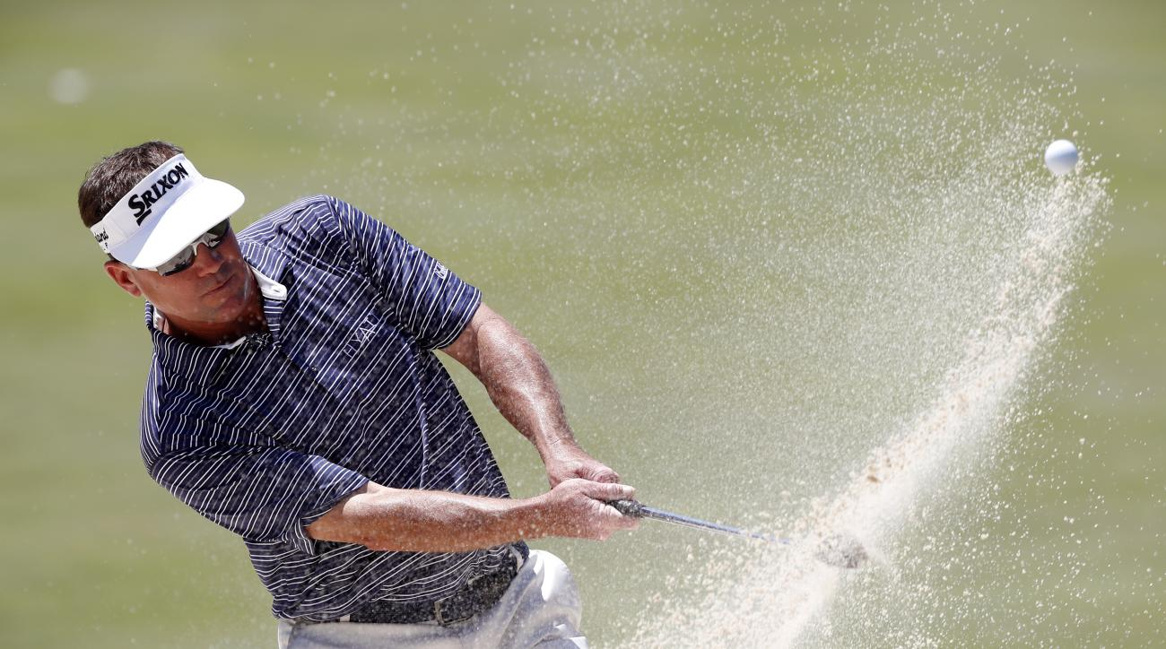 Brandt Jobe hits out of bunker onto the ninth green during the second round of the PGA Tour Champions Principal Charity Classic golf tournament, Saturday, June 10, 2017, in Des Moines, Iowa. (AP Photo/Charlie Neibergall)