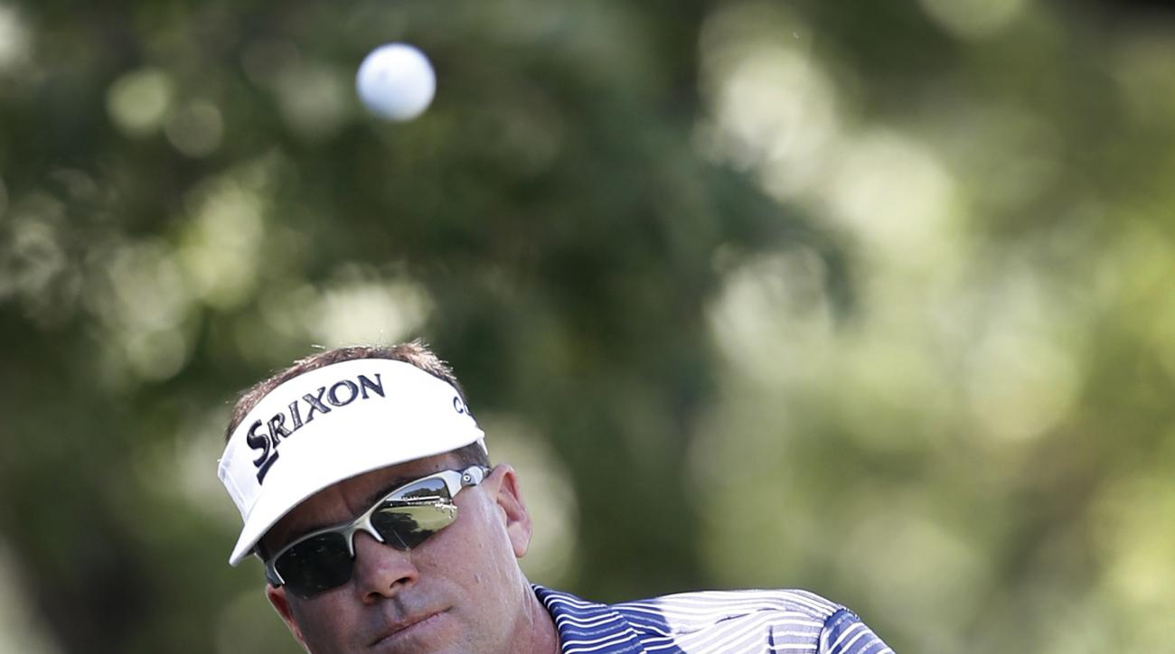 Brandt Jobe hits to the 18th green during the second round of the PGA Tour Champions Principal Charity Classic golf tournament, Saturday, June 10, 2017, in Des Moines, Iowa. (AP Photo/Charlie Neibergall)