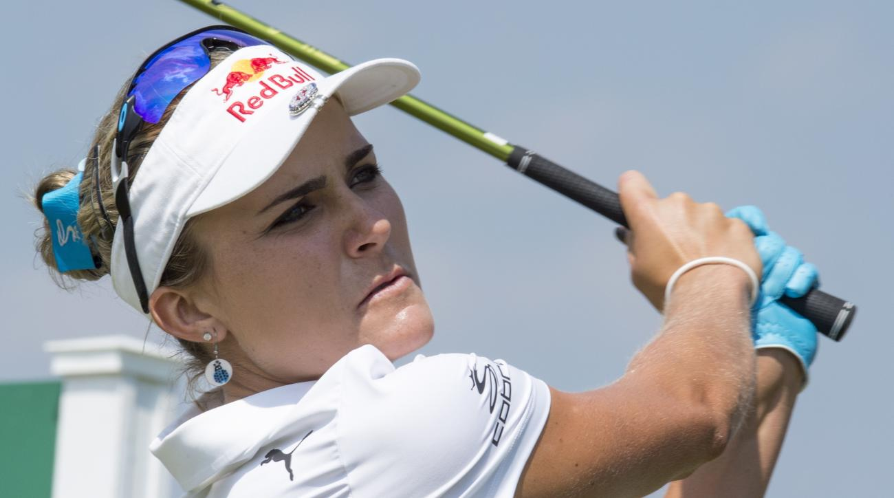 Lexi Thompson on the USA watches her tee shot on the 10th hole during the final round of the LPGA Classic at Whistle Bear Golf Club in Cambridge, Ontario on Sunday June 11, 2017. (Frank Gunn/The Canadian Press via AP)