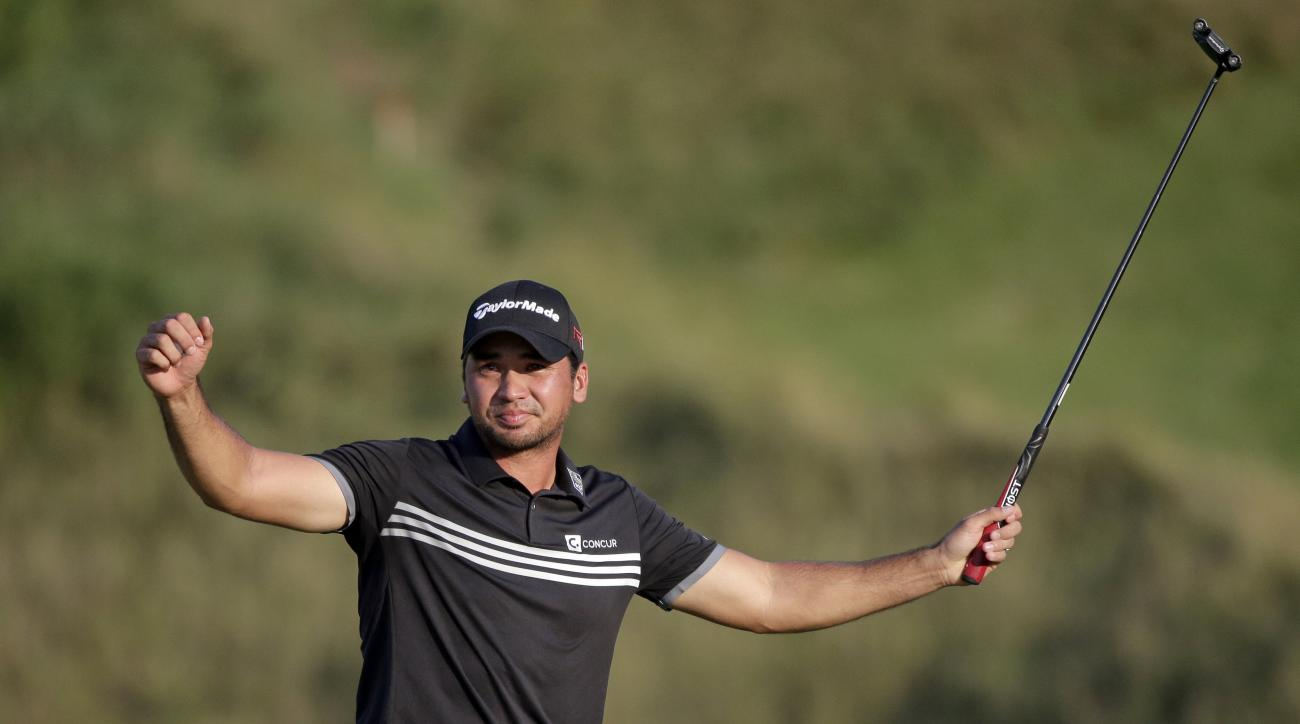 FILE - In this Aug. 16, 2015, file photo, Jason Day, of Australia, celebrates after winning the PGA Championship golf tournament at Whistling Straits in Haven, Wis. Day is back in Wisconsin for the U.S. Open after winning the 2015 PGA Championship at near