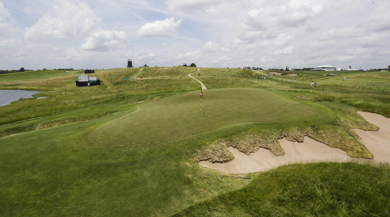 The ninth hole is seen during a practice round for the U.S. Open golf tournament Wednesday, June 14, 2017, at Erin Hills in Erin, Wis. (AP Photo/Morry Gash)