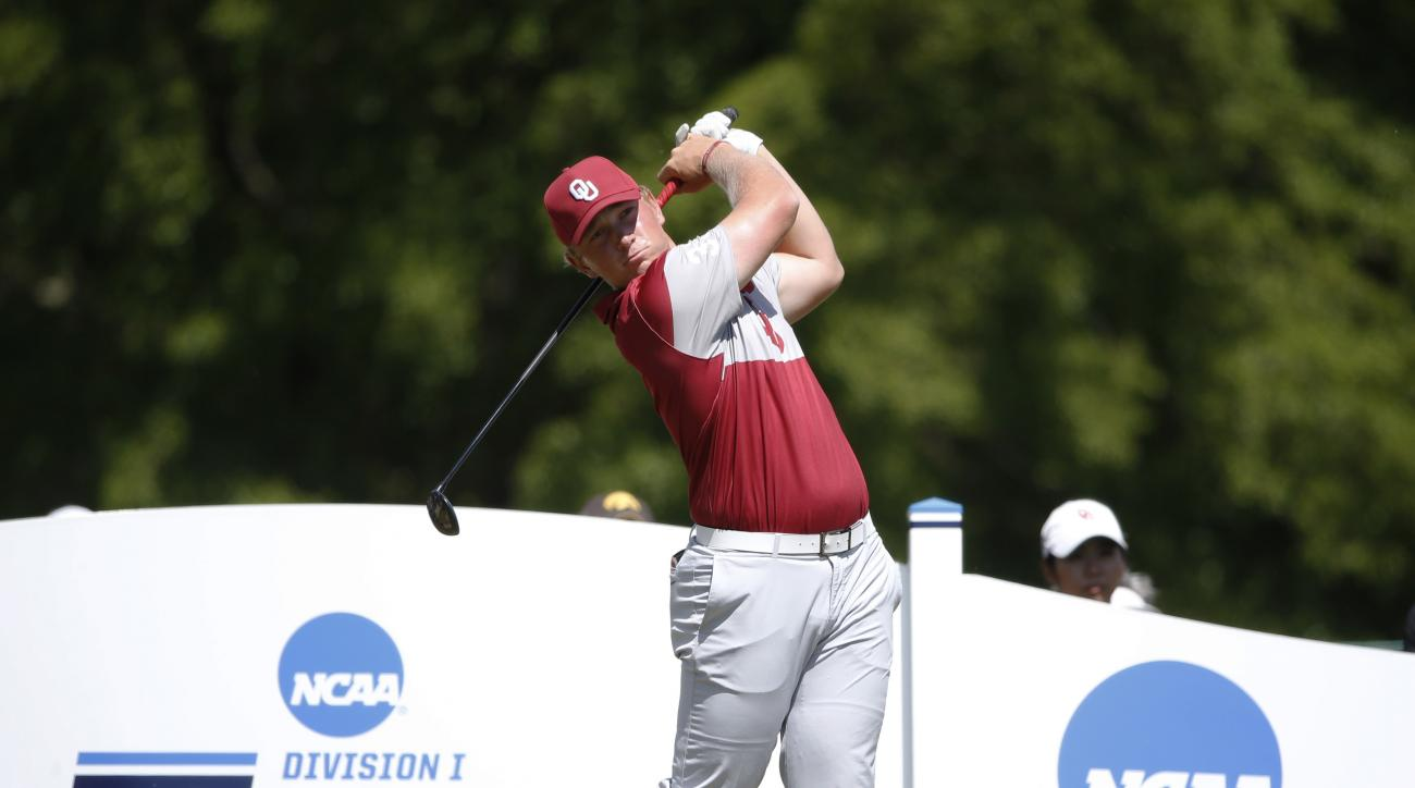 FILE - In this May 31, 2017, file photo, Oklahoma's Brad Dalke watches a tee shot during the final round of the NCAA Division I men's golf championships in Sugar Grove, Ill. Fresh off his clinching win for Oklahoma in last months NCAA final, Dalke is play