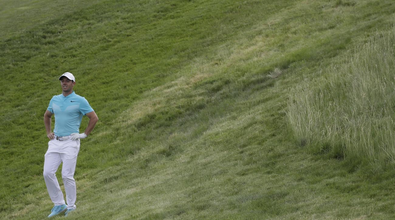 Rory McIlroy, of Ireland, looks over the 12th hole during the second round of the U.S. Open golf tournament Friday, June 16, 2017, at Erin Hills in Erin, Wis. (AP Photo/David J. Phillip)