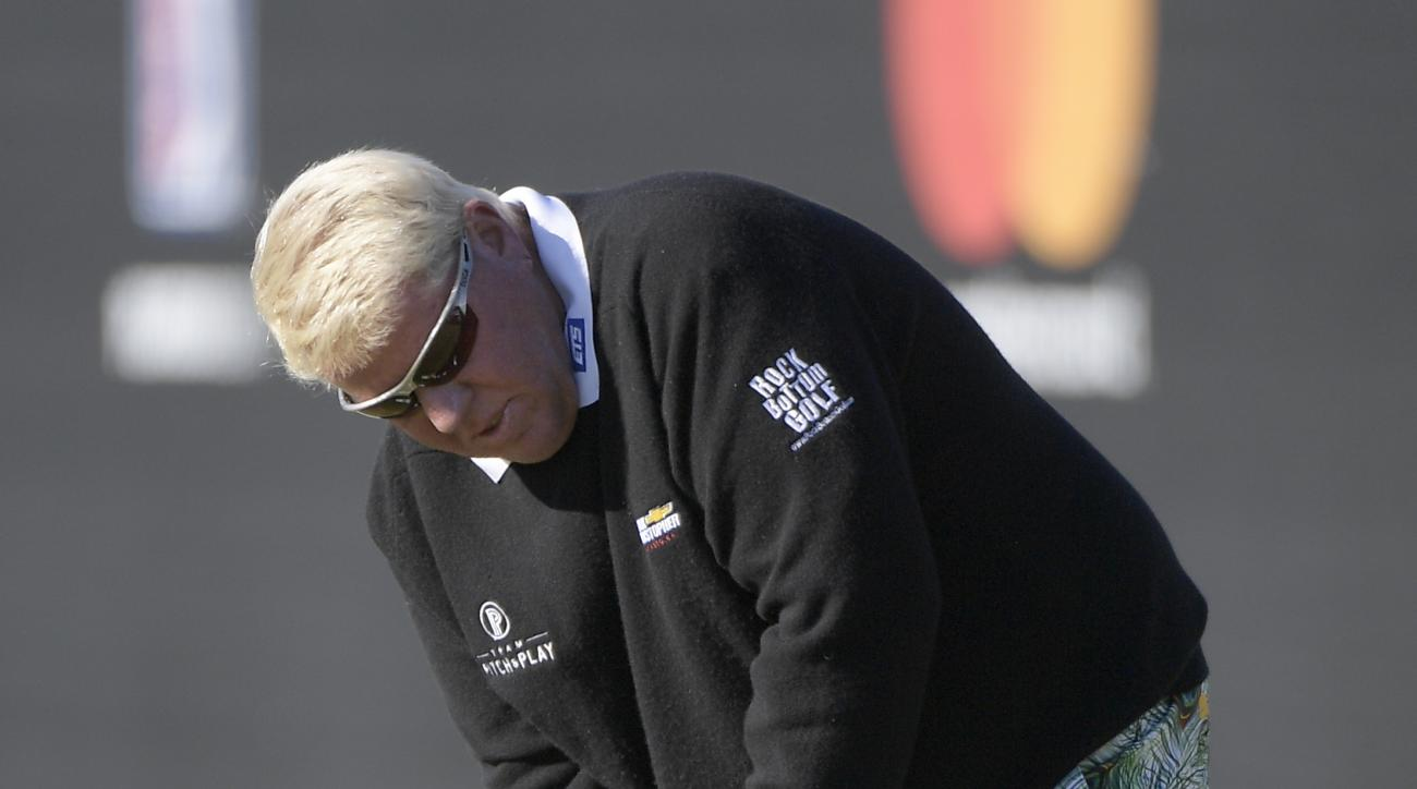 John Daly sinks a putt on the 17th green during the first round of the Arnold Palmer Invitational golf tournament in Orlando, Fla., Thursday, March 16, 2017. (AP Photo/Phelan M. Ebenhack)