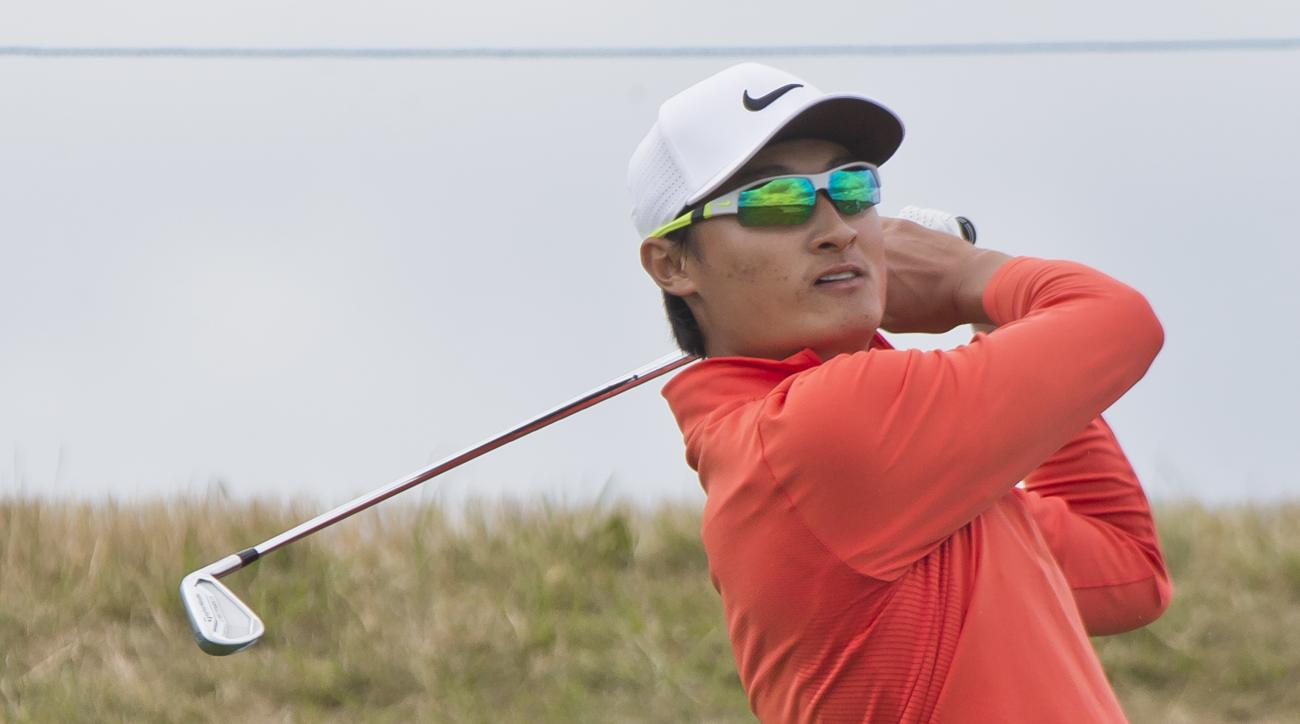 Li Haotong of China tees off during the first day of the French Open Golf tournament at Paris National course in Guyancourt, west of Paris, France, Thursday, June 29, 2017. (AP Photo/Michel Euler)