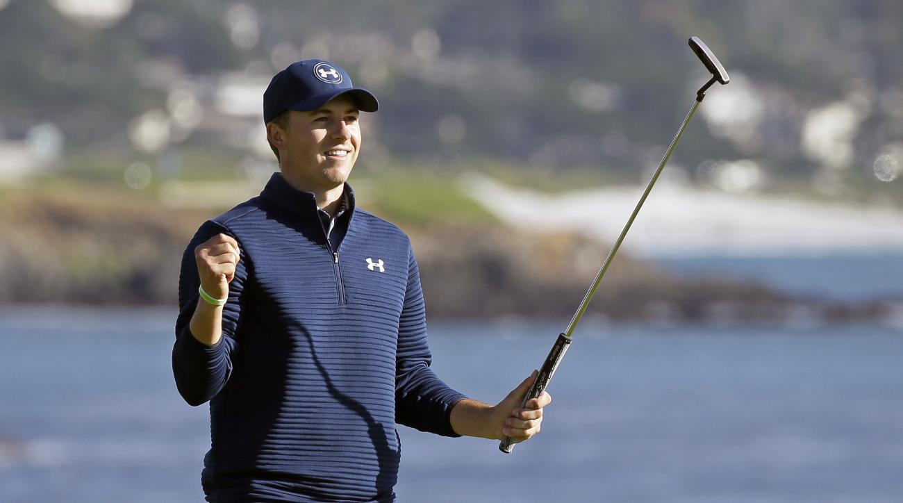 FILE - In a Sunday, Feb. 12, 2017 file photo, Jordan Spieth reacts on the 18th green of the Pebble Beach Golf Links after winning the AT&T Pebble Beach National Pro-Am golf tournament, in Pebble Beach, Calif. Spieth says  he wants to build a reputation fo