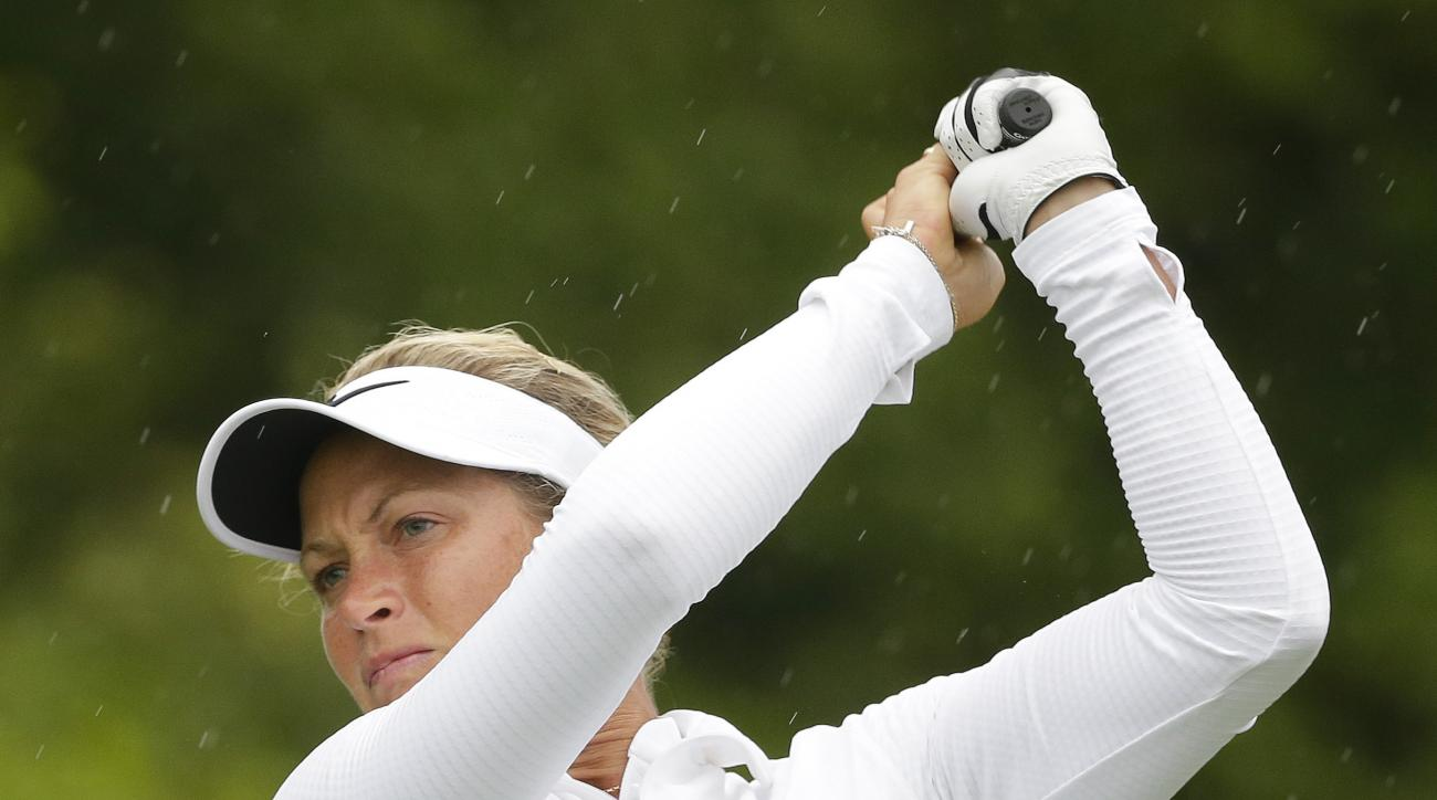 Norway's Suzann Pettersen tees off on the 15th hole during the second round of the U.S. Women's Open Golf tournament Friday, July 14, 2017, in Bedminster, N.J. (AP Photo/Seth Wenig)