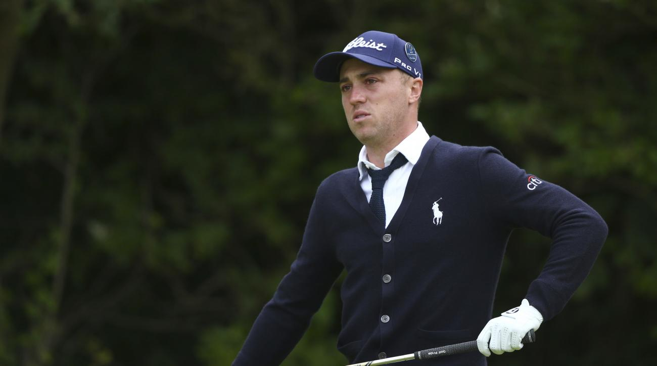 Justin Thomas of the US looks along the 5th fairway during the first round of the British Open Golf Championship, at Royal Birkdale, Southport, England Thursday, July 20, 2017. (AP Photo/Dave Thompson)