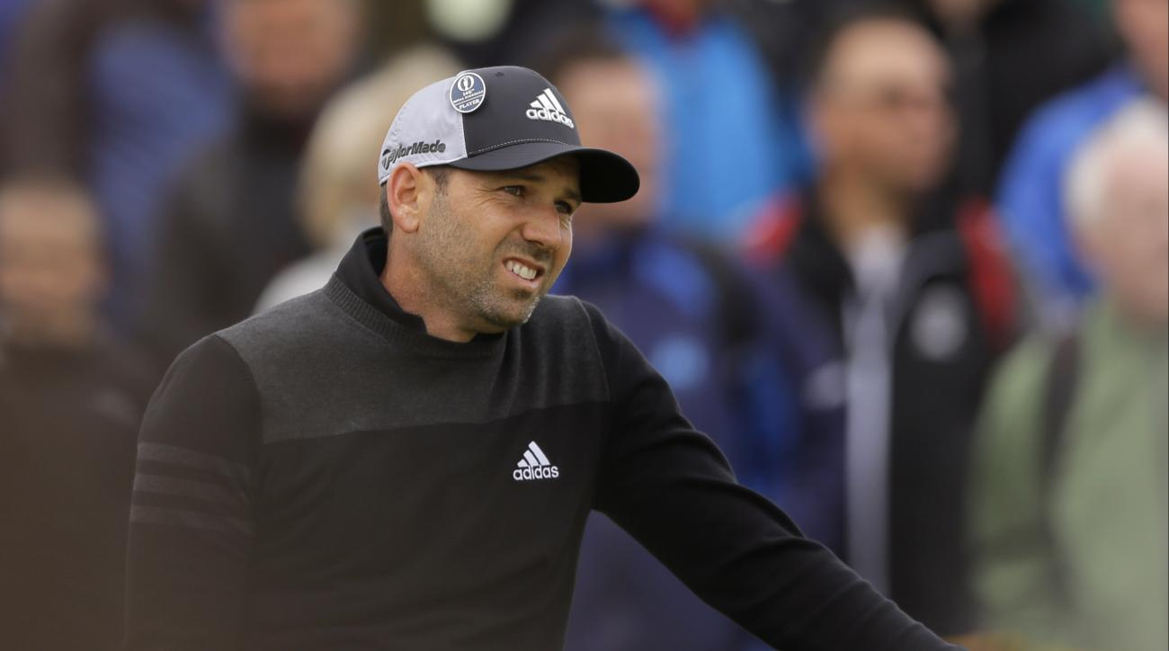 Spain's Sergio Garcia watches his tee shot from the tee box during the second round of the British Open Golf Championship, at Royal Birkdale, Southport, England Friday, July 21, 2017. (AP Photo/Alastair Grant)
