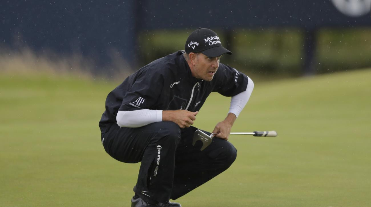 Sweden's Henrik Stenson looks at a putt on the 6th green during the second round of the British Open Golf Championship, at Royal Birkdale, Southport, England Friday, July 21, 2017. (AP Photo/Alastair Grant)