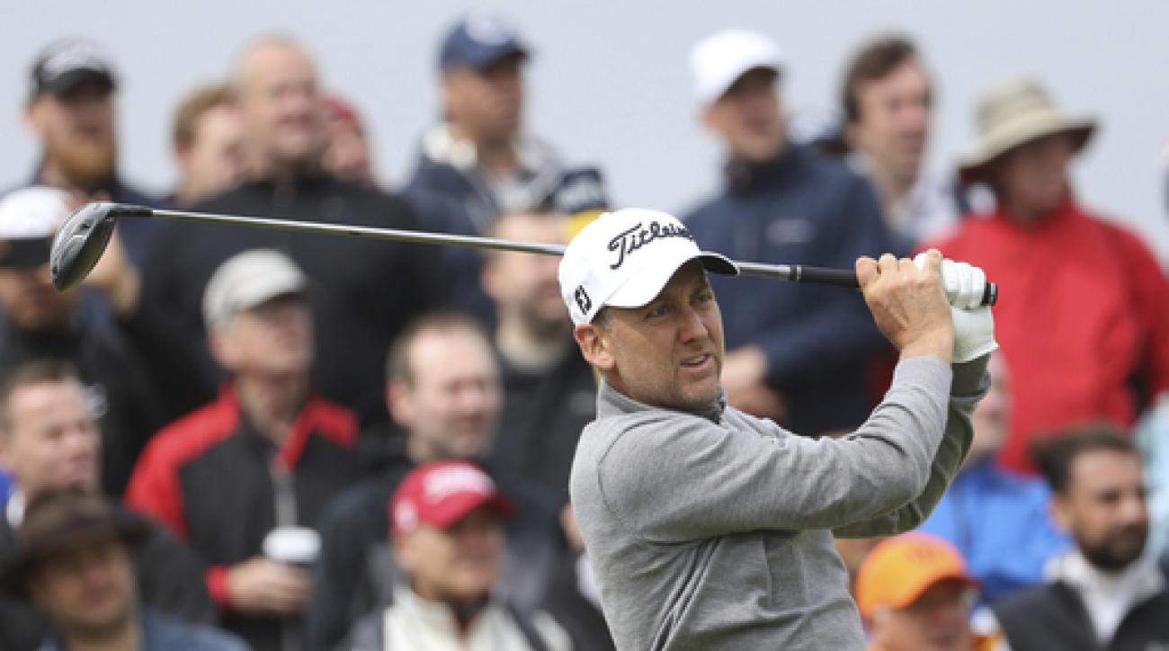 England's Ian Poulter plays a shot off the 9th tee during the second round of the British Open Golf Championship, at Royal Birkdale, Southport, England, Friday July 21, 2017. (AP Photo/Peter Morrison)