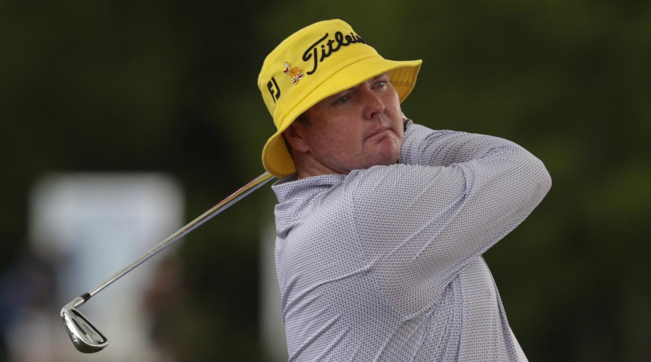 Jarrod Lyle, of Australia, watches his tee shot on the 9th hole during the first round of the Zurich Classic PGA golf tournament, Thursday, April 23, 2015, in Avondale, La. (AP Photo/Butch Dill)