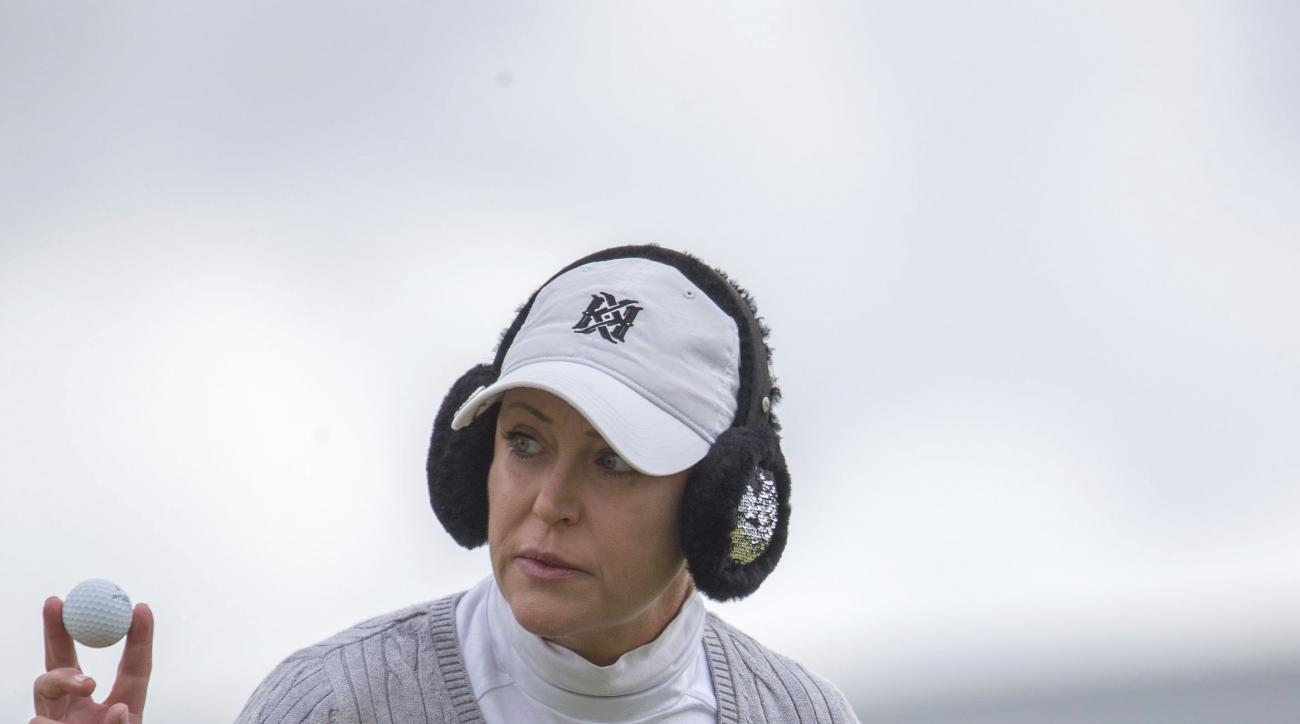 USA's Cristie Kerr acknowledges the applause on the 1st green during day three of the Ladies Scottish Open at Dundonald Links, North Ayrshire. Scotland, Saturday July 29, 2017. (Kenny Smith/PA via AP)