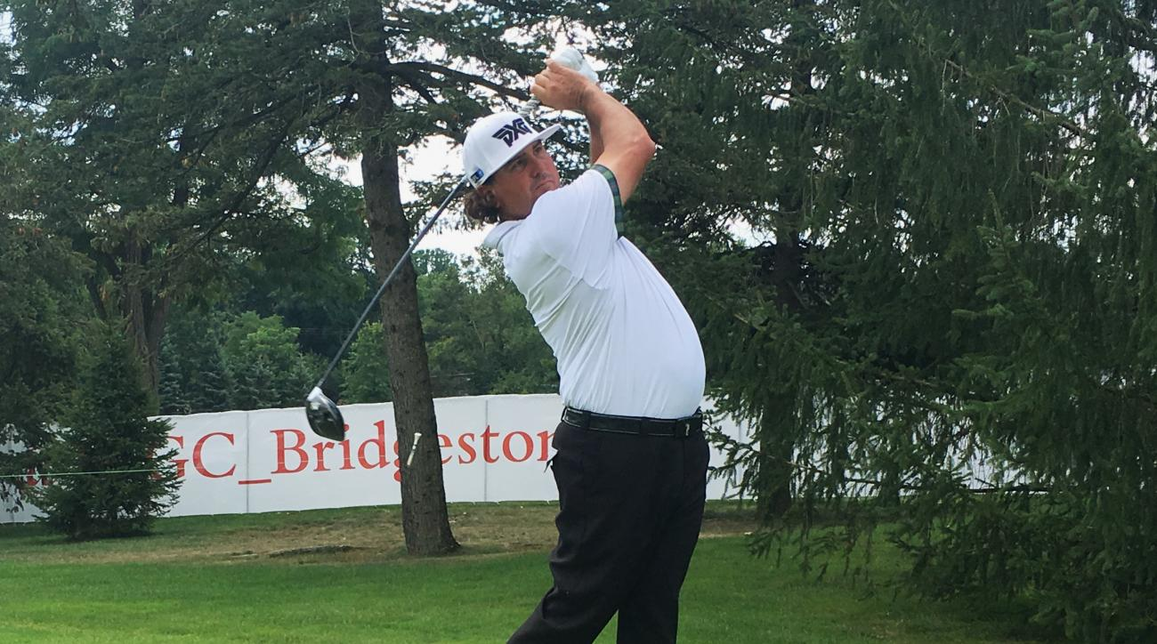 Pat Perez drives off the 13th tee during a practice round for the Bridgestone Invitational at Firestone Country Club in Akron, Ohio, Tuesday, Aug. 1, 2017. After missing last year because of shoulder surgery, Perez is having the best season of his PGA Tou
