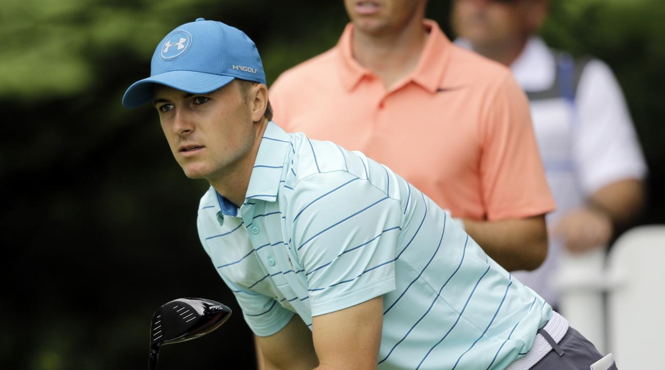 Jordan Spieth watches his ball after teeing off on the second hole during the second round of the Bridgestone Invitational golf tournament at Firestone Country Club, Friday, Aug. 4, 2017, in Akron, Ohio. (AP Photo/Tony Dejak)