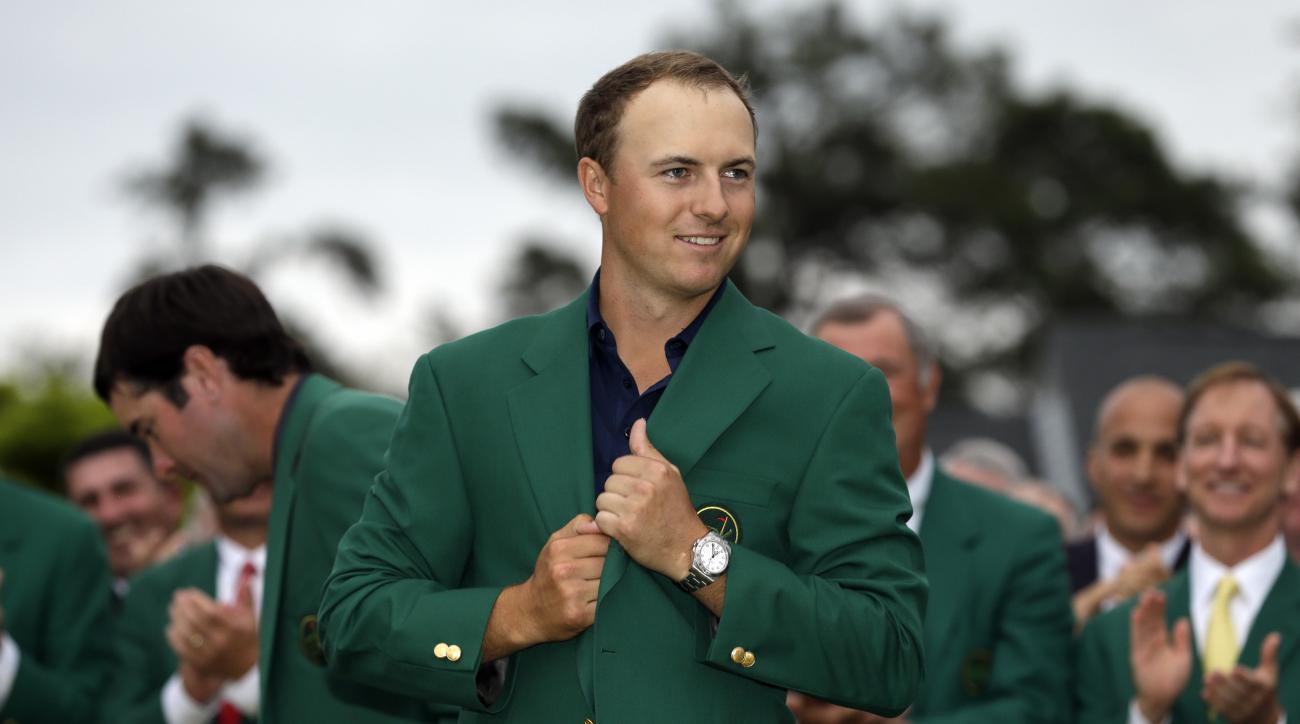 FILE - In this April 12, 2015, file photo, Jordan Spieth wears his green jacket after winning the Masters golf tournament in Augusta, Ga. Spieth understands perfectly what is at stake in the final major championship of the year, the PGA Championship. A vi