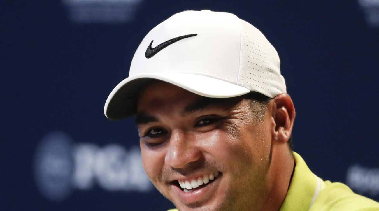 Jason Day of Australia, talks during a news conference at the PGA Championship golf tournament at the Quail Hollow Club Wednesday, Aug. 9, 2017, in Charlotte, N.C. (AP Photo/Chris Carlson)
