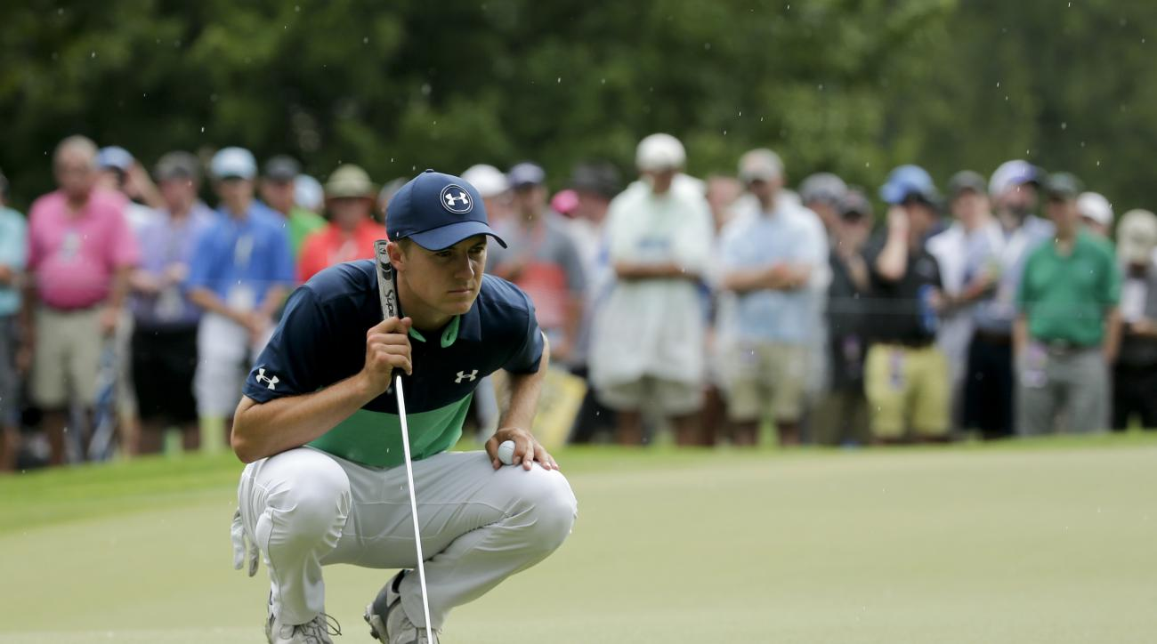 Jordan Spieth lines up a putt on the sixth hole during the second round of the PGA Championship golf tournament at the Quail Hollow Club Friday, Aug. 11, 2017, in Charlotte, N.C. (AP Photo/Chuck Burton)