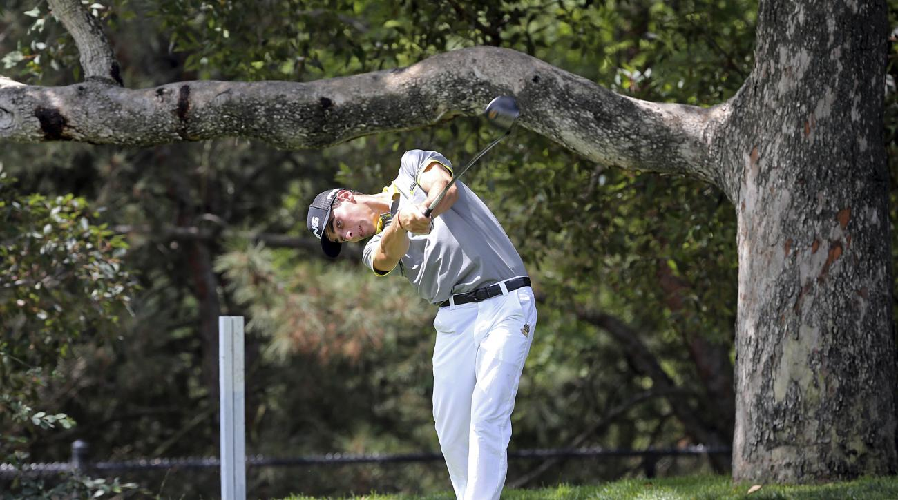 Joaquin Niemann, of Chile, tees off on the second hole in the second round of the USGA U.S. Amateur golf championship at Bel Air Country Club in Los Angeles, Tuesday, Aug. 15, 2017. (AP Photo/Reed Saxon)