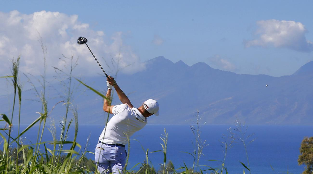 FILE - In this Jan. 7, 2016, file photo, Justin Thomas hits from the seventh tee during the first round of the Tournament of Champions golf tournament at Kapalua Plantation Course on Kapalua, Hawaii. With a new five-year sponsorship deal with Sentry Insur