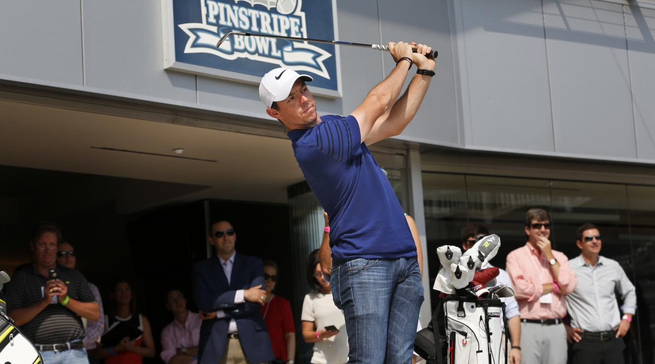 Rory McIlroy hits some golf balls in Yankee Stadium in New York, Tuesday, Aug. 22, 2017. McIlroy was there to be part of a donation by FedEx to St. Jude Children's Research Hospital. McIlroy is the defending FedEx Cup champion and is planning to play the