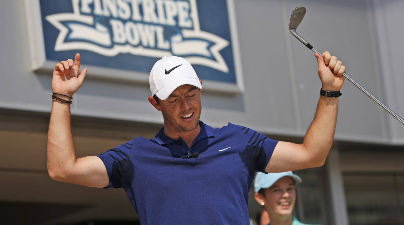 Rory McIlroy reacts while hiting some golf balls in Yankee Stadium in New York, Tuesday, Aug. 22, 2017. McIlroy was there to be part of a donation by FedEx to St. Jude Children's Research Hospital. McIlroy is the defending FedEx Cup champion and is planni