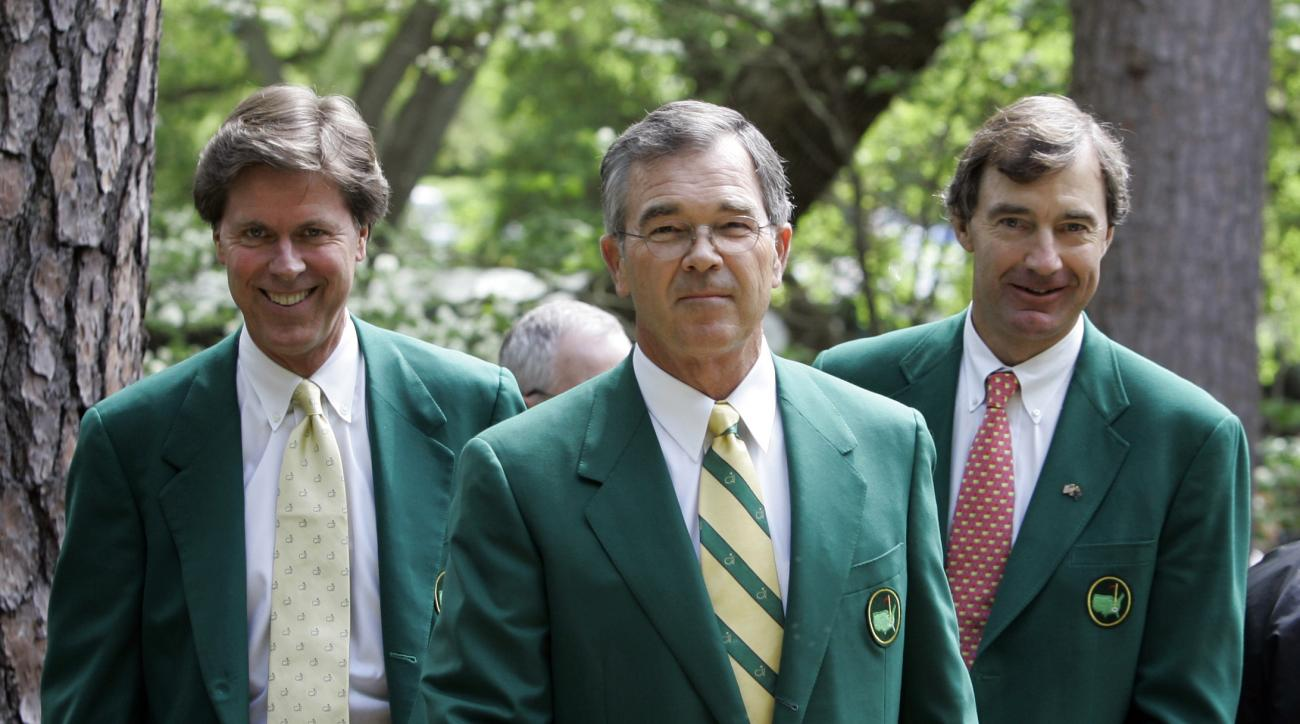 FILE - In this Wednesday, April 4, 2007, file photo, Augusta National Golf Club Chairman Billy Payne, center, arrives with Fred Ridley, left, and Craig Heatley at the media center to brief reporters on the Masters during practice for the 2007 Masters golf