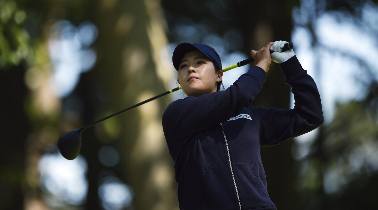 In Gee Chun of Korea tees off on the 18th hole during first round of the 2017 CP Women's Open of the LPGA Tour in Ottawa on Thursday, Aug. 24, 2017. (Sean Kilpatrick/The Canadian Press via AP)