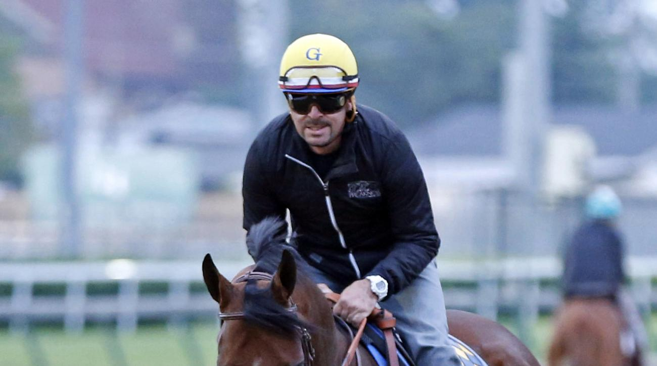 In this photo taken Thursday, May 21, 2015, American Pharoah, ridden by Jorge Alvarez, jogs on the track at Churchill Downs in Louisville, Ky. The Kentucky Derby and Preakness Stakes winner is expected to be the heavy favorite to win the Belmont on June 6