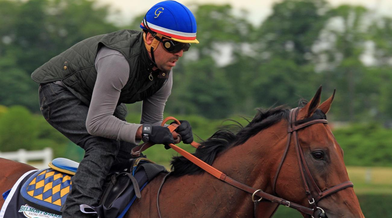 Exercise rider Jorge Alvarez gallops Kentucky Derby and Preakness Stakes winner American Pharoah at Belmont Park in Elmont, NY, Thursday, June 4, 2015. American Pharoah is attempting to be the first Triple Crown winner in 37 years on Saturday in the Belmo