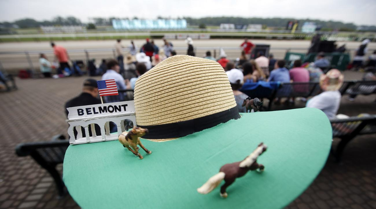 Donna Zirbes-Steinmetz, of Lindenhurst, N.Y., wears a race-themed hat before the 147th running of the Belmont Stakes horse race at Belmont Park, Saturday, June 6, 2015, in Elmont, N.Y.  American Pharoah will try for a Triple Crown when he runs in Saturday