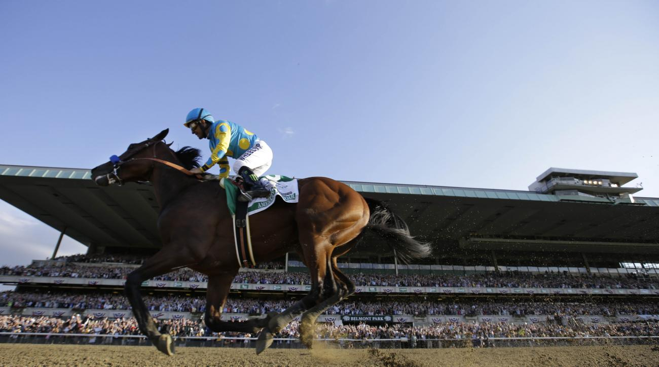 American Pharoah gallops past the grandstand with Victor Espinoza up after crossing the finish line to win the 147th running of the Belmont Stakes horse race at Belmont Park, Saturday, June 6, 2015, in Elmont, N.Y. American Pharoah is the first horse to w