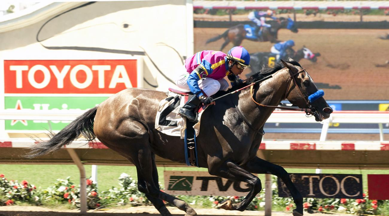 George Krikorian's Big Book and jockey Rafael Bejarano win the $200,000 Fleet Treat Stakes Saturday, July 25, 2015 at Del Mar Race Track in Del Mar, Calif. (Benoit Photo via AP)